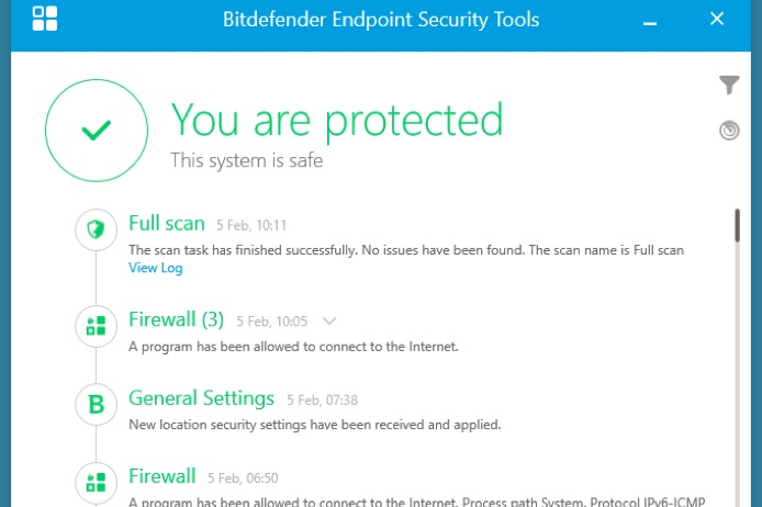 Bitdefender antivirus screenshot.